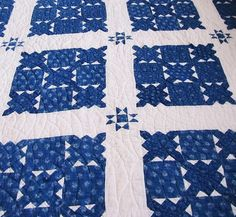 I would love to draft this block from this gorgeous vintage quilt done in Indigos  -- there is a similar block on the Dear Jane quilt (4 1/2 inches!!)  Will have to research the block name