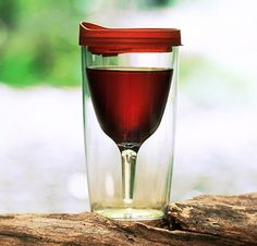 A glass on wine on a picnic table? Possible! This portable wine glass insulates temperature and keeps bugs from getting buzzed off your precious wine.