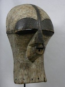 """Fine African SONGYE Kifwebe Female Mask Dimension 18""""H    x    7  1/2""""W   x    7  1/2""""D"""