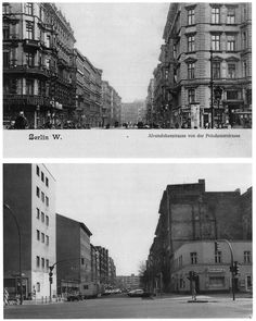 comparison of berlin before WWII (top) and reconstruction after the war (bottom).