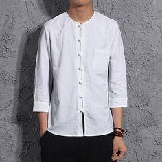 a1b8d423f69 Fashion Solid Color Round Neck Long Sleeve Linen Shirts. Men FashionFashion  ShirtsChinese ShirtBig SizesPlus ...