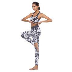 4cbf05124 Leotardos de cintura alta y traje de sujetador Chándal Sport Casual Mujer 2  piezas Set Ropa de fitness Workout Sportswear para mujer