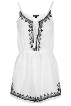 Embroidered Tassel Playsuit