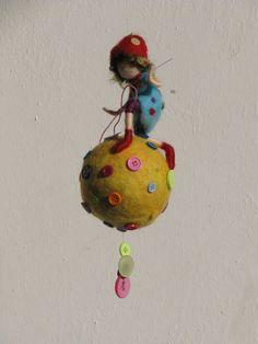 Waldorf inspired needle felted nursery mobile door Made4uByMagic