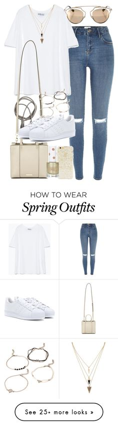 """""""Outfit for a casual spring day"""" by ferned on Polyvore featuring River Island, Zara, Forever 21, Swell, Rebecca Minkoff, adidas, Topshop and Christian Dior"""