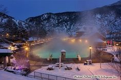 Glenwood Springs, Colorado hot springs pool at night. Best place to go for romantic nights. The steam hides you from everyone else and its especially beautiful in winter! We go here for our anniversary every year.