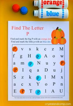 Are you ready for some new do a dot printables? This month our packet will focus on pumpkins which is perfect for fall! We love activities for kids that make Letter P Crafts, Letter P Activities, Preschool Letters, Learning Letters, Fall Preschool, Preschool Kindergarten, Preschool Learning, Preschool Activities, Preschool Curriculum