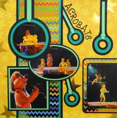 Animal Kingdom scrapbook page of The Lion King play with gymnastic rings from Cricut's Total Sports - from Travel Album 20 � Disney Animal Kingdom