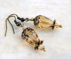 Cut Glass Hot Air Balloon Earrings in a Steampunk Style - Steampunk Jewelry - Dangle Earrings - Customized ear wires by ElainaLouiseStudios, $16.00