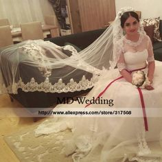 Real Photos 2015 White/Ivory Wedding Veil 3M With Comb Lace Beads Mantilla Bridal Veil Wedding Accessories Veu De Noiva MD47