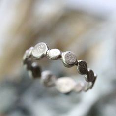 14K Palladium White Gold River Stones Band, Stacking Ring, Wedding Band, Gold Band, Eco Friendly, Recycled Gold - Made To Order by louisagallery on Etsy