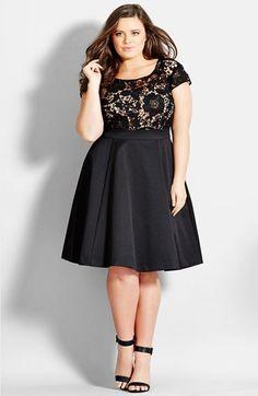 Plus Size Women's City Chic 'Romantic Lace' Fit & Flare Dress