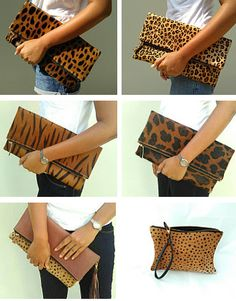 Calf skin fold over clutch. FAVORITE ETSY SHOPS FOR HOME DECOR AND FASHION