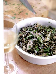 Puy lentil and mackerel salad from The River Cottage Fish Book Mackerel Salad, Mackerel Recipes, River Cottage, Lentils, How To Dry Basil, Grains, Good Food, Herbs, Fish