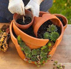 Ideas Succulent Garden Stones Planters For 2019 Hanging Succulents, Small Succulents, Succulents Garden, Hanging Planters, Planting Flowers, Diy Garden, Garden Projects, Garden Pots, Fairies Garden