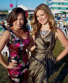 Christine Park and Kristie Gonzales of ABC30 rocking their dresses at Fiesta de los Ninos 2011