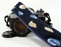 dSLR Camera Strap with pocket, Sea shells, Blue Denim, SLR