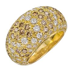 Cartier Pave Brown and White Diamond Dome Ring | From a unique collection of vintage dome rings at https://www.1stdibs.com/jewelry/rings/dome-rings/