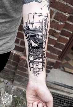 "Vintage typewriter hand ink, black work graphic style and abstract art, with ""Never Stop Playing"" quotes. By KOIT Tattoo from Berlin, Germany. Check out his Facebook or Instagram page ✿ Koittattoo@gmail.com"