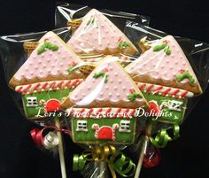 Gingerbread House Cookie Pops - Gingerbread House Cookies - 1 Dozen. $36.99, via Etsy.