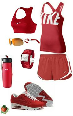 Women's fashion red nike outfit