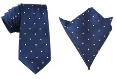 Matching Necktie  Pocket Square Combo Navy Blue White by OTAA, $43.95 Navy Blue, Blue And White, Groom Attire, Pocket Square, Trending Outfits, Etsy, Vintage, Fashion, Moda
