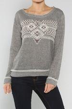 Tribal Terry Sweater, Grey