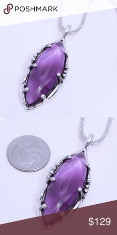 "950 Sterling Silver & Amethyst Pendant with Chain Pendant Stamped ""950"". Chain is 26 inches long.  This is not a stock photo. The image is of the actual article that is being sold  Sterling silver is an alloy of silver containing 92.5% by mass of silver and 7.5% by mass of other metals, usually copper. The sterling silver standard has a minimum millesimal fineness of 925.  All my jewelry is solid sterling silver. I do not plate.   Hand crafted in Taxco, Mexico.  Will ship within 2 days of…"