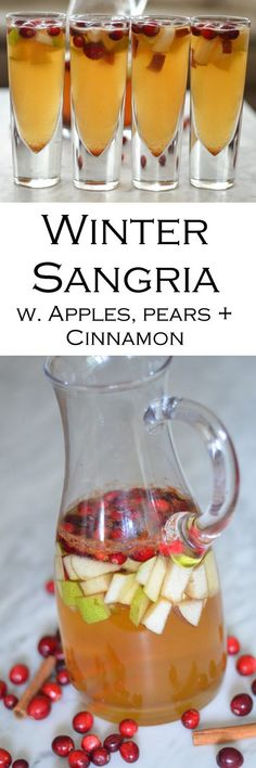 Winter Sangria with Apples, Pears, + Cinnamon. Delicious cocktail for Fall, Winter, and Christmas parties. #LMrecipes #recipe #recipes #foodblog #foodblogger #fallflavors #fallrecipes #delicious #drinks #sangria #cocktails