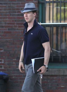 Benedict Cumberbatch arrives on the set of Black Mass in Boston, Massachusetts on June 17, 2014.