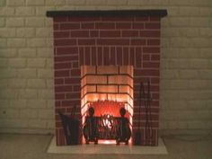 era cardboard fireplace, I pulled out of the closet after 40 years. Cardboard Playhouse, Cardboard Toys, Cardboard Furniture, Christmas Diy, Christmas Decorations, Holiday, Fireplace Kits, Cardboard Fireplace, Sleepover Activities