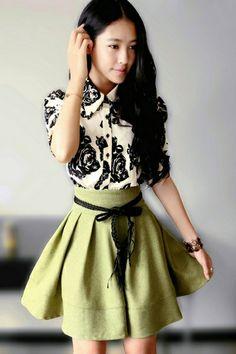 Floral Print Flounce Shirt Dress OASAP.com