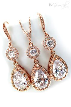 NEW Rose Gold Bridesmaid Jewelry SetSwarovski Clear Crystal