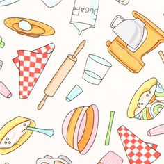 white cooking utensils fabric by Timeless Treasures 1