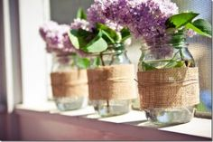 Burlap Wrapped Mason Jar Vase | Mason Jar Crafts Love