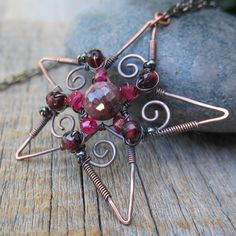 Rusty Star Multi Strand Copper Memory Wire Wrap By McHughCreations - Diy copper stars for christmas decor