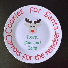 Cookies for Santa Plate, Santa Plate, Christmas Plate, Customized Plate by TheSensoryEmporium on Etsy https://www.etsy.com/listing/211856062/cookies-for-santa-plate-santa-plate