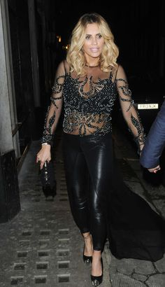 Celebrities In Leather: Katie Price wears black leather pants