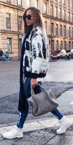 Black And White Printed Puffer Jacket by Kenzas