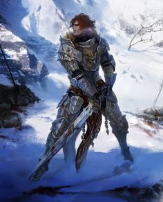 warrior, fighter, knight, plate armor, two handed sword