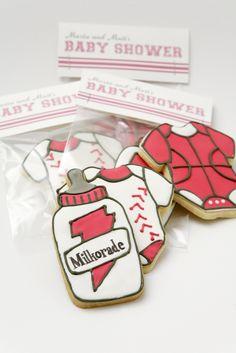 "sports themed baby shower favors - baby bottle cookie ""milkorade"" sports drink, basketball onesie cookie, and baseball onesie cookie"