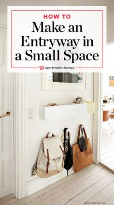 ideas apartment therapy small spaces diy kitchen ideas for 2019 Small Apartment Entryway, Small Apartment Bedrooms, Apartment Entrance, Small Apartments, Small Entryway Decor, Small Entryway Organization, Kitchen Entryway Ideas, Small Apartment Hacks, Small Apartment Organization