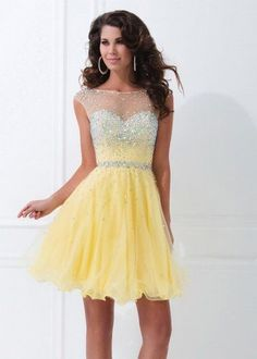 Illusion Neck Cap Sleeves Sequined Yellow Short Open Back Cocktail Dress [Tony Bowls TS11477 Yellow] - $185.00 : 2015 Trends Fashion Dresses For Prom,Save Up 50%