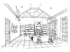 Photo : Freehand drawing  interior perspective of coastal (cottage) styl