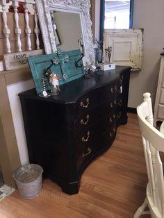 Lamp Black gentleman's dresser, french provincial.