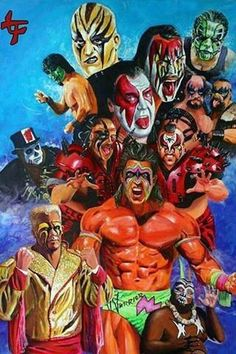 The painted faces of Pro Wrestling // Sting, Goldust, Great Muta, Ax and Smash, Hawk and Animal, Papa Shango, Kamala, Willow the Wisp, and Ultimate Warrior