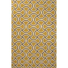 This handcrafted rug's all-over geometric pattern in gold and gray boasts a look reminiscent of decorative tile. Its durable polypropylene construction enables use in both interior and exterior settings.