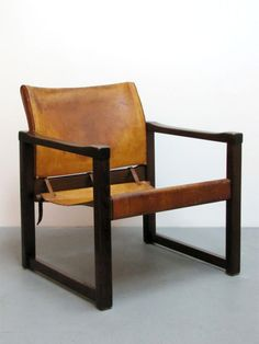Martin Visser; Wood and Leather Easy Chair, 1960s.