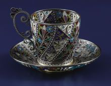 Silver Holloware, Continental:Holloware, A Norwegian Plique-a-Jour Cup and Saucer. Marius Hammer,Oslo, Norway. Circa 1900. Silver gilt and enamel. Mar...
