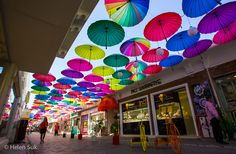 umbrella art installation in fethiye turkey